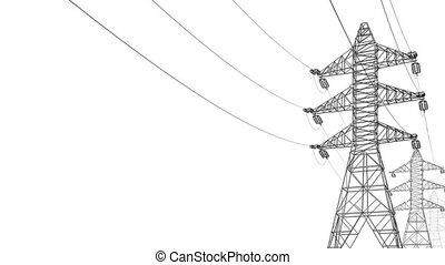 Electrical Power Lines and Pylons - White background Alpha...