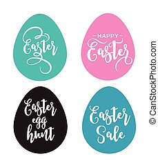 Happy Easter greeting card with eggs and lettering