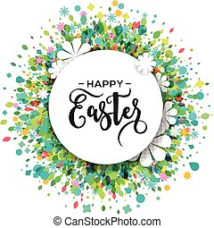 Colorful Happy Easter and spring greeting card, poster with flowers