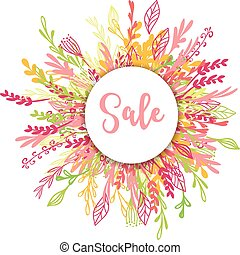 Sale greeting card, poster with flowers