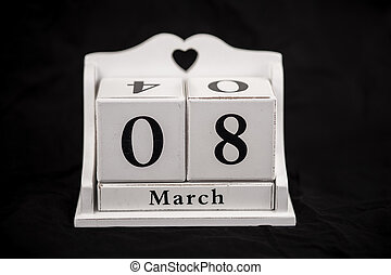 Calendar cubes March, eighth, 8, 8th - Calendar cubes black...