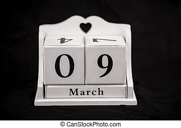Calendar cubes March, ninth, 9, 9th - Calendar cubes black...