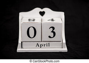 Calendar cubes April, third, 3, 3rd - Calendar cubes black...