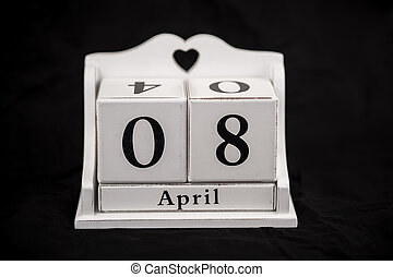 Calendar cubes April, eighth, 8, 8th - Calendar cubes black...