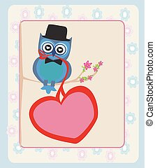 Cute owl sitting on the tree branch. Valentine's day postcard