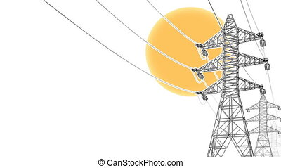electrical power lines with sun - Stylized detailed...