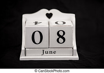 Calendar cubes June, eighth, 8, 8th - Calendar cubes black...