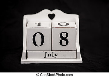 Calendar cubes July, eighth, 8, 8th - Calendar cubes black...