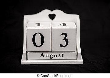 Calendar cubes August, third, 3, 3rd - Calendar cubes black...