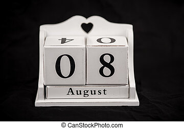 Calendar cubes August, eighth, 8, 8th - Calendar cubes black...