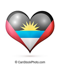 Antigua and Barbuda Heart flag icon - Love Antigua and...