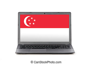 Laptop and flag of Singapore - Grey laptop with flag of...