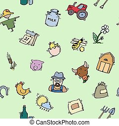 Seamless pattern Hand drawn Farm icon set. Vector...