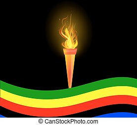 Olympic Torch and flag - Olympic torch and flag, vector art...