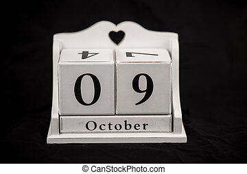 Calendar cubes October, ninth, 9, 9th - Calendar cubes black...