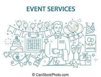 Doodle style design concept of special event and happy birthday party organization, catering service agency