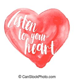 Modern inspirational quote on watercolor heart - Modern...