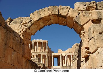 Roman ruins of Sabratha, in Libya - An arch in the Roman...