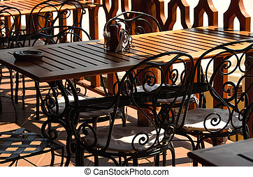The table in the cafe