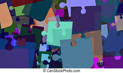 Flying puzzle pieces in different colors