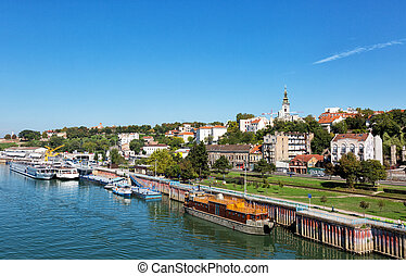 Belgrade from river Sava with riverboats on a sunny day,...