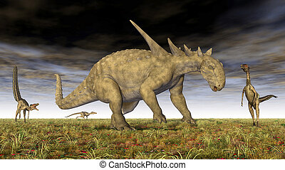 Sauropelta, y, Velociraptor,