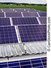 surface of the a solar panel on field - surface of the a...