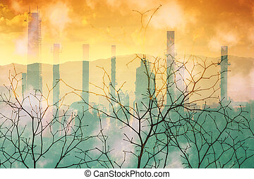 Industrial pollution nature disaster concept.