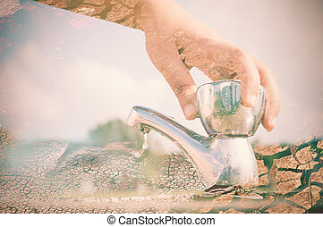 Water saving - Woman hand shut the faucet with arid land...