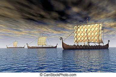Viking ships - Computer generated 3D illustration with three...