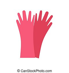 Red rubber gloves flat icon isolated on white background