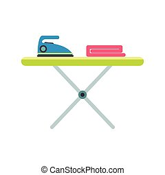 Ironing board with iron flat icon isolated on white...