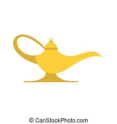 Middle east oil lamp flat isolated on white background