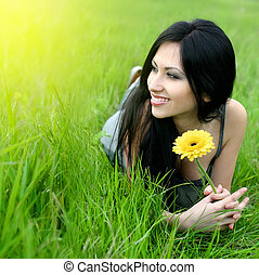 beautiful woman with flower