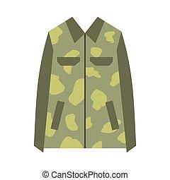 Camouflage jacket flat icon isolated on white background