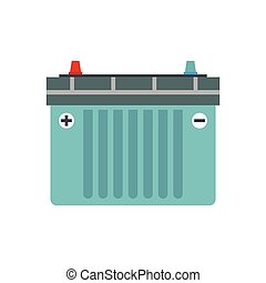 Car battery flat icon isolated on white background
