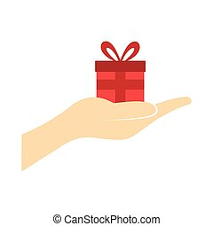 Small gift red box in a hand flat icon