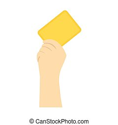 Referee showing yellow card flat icon isolated on white...