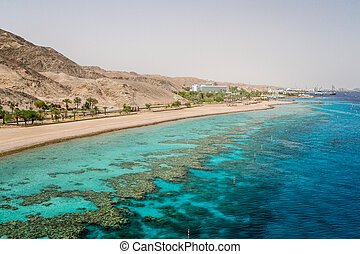 Beach of Eilat city, Red Sea, Israel - Beach of Eilat city,...