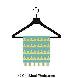 Blue scarf on coat-hanger flat icon