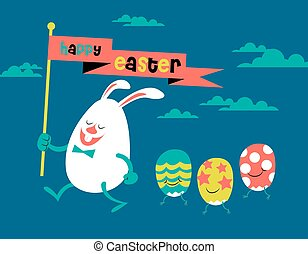 happy easter, cute illustration, bunny & eggs
