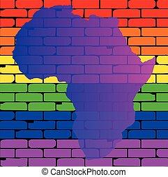Transexual, regenbogen, Wand, mit, afrikas, Landkarte,