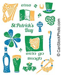 Patricks Day symbol set in lino style - Patricks Day symbol...