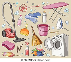 Doodle vector set of cleanup, vector illustration, EPS 10