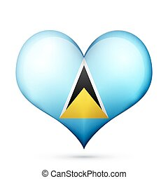 Saint Lucia Heart flag icon - Love Saint Lucia symbol Heart...