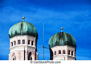 Frauenkirche in Munich, Germany - Towers of the Frauenkirche...