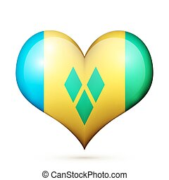 Saint Vincent and the Grenadines Heart flag icon - Love...