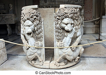 """Marble sarcophagus """"with two lions"""" - Lion devouring a young..."""