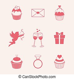 St. Valentines Day icons vector illustration, EPS 10