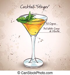Cocktail alcoholic Stinger. It consists of Cognac, Liqueur...